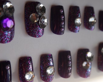 "SALE! 3D Japanese Style Purple Goth Inspired nails ""Pearl Buttons "" SIZE A"