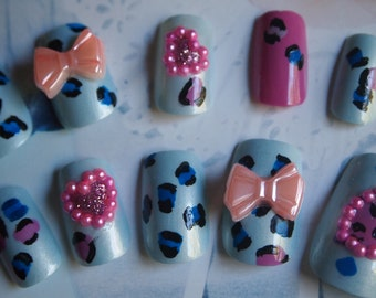 "SALE! 3d Japanese Style Handpainted Leopard Nails ""Party Girl "" SIZE A"