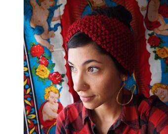 SALE! Vintage 1940's turban inspired Knit Hatband, Headband, Headwrap (retro, gypsy, rockabilly)