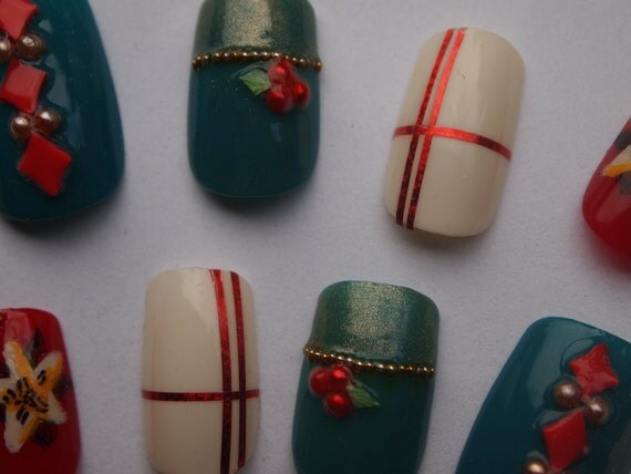 """3D Red White Pine, Handpainted Fake Nails """"Holiday"""" SIZE A"""