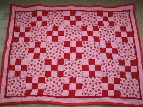 Crib Quilt Hearts and Nine Patch - SALE price