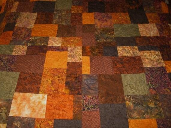 """Twin Size Gorgeous Batik Fall Color Quilt 65"""" Square"""