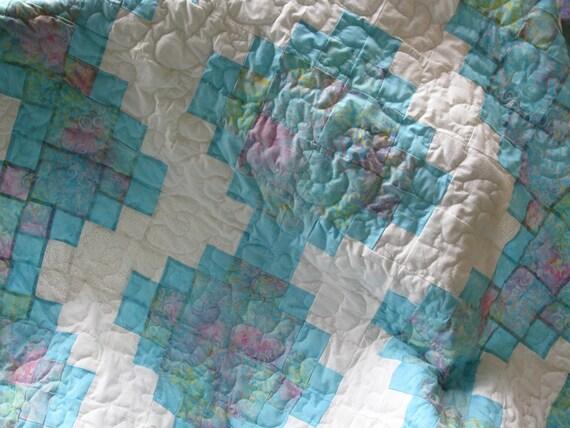 Twin Sized Batik Quilt - Pastel Print - SALE SALE SALE