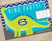 DINOSAUR Birthday Party Invitation Custom 5 x 7 pdf printable