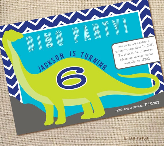 DINOSAUR Birthday Party Invitation Custom 5 x 7 pdf printable