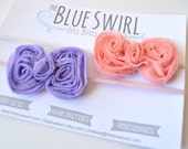 Shabby Chic Newborn Bow Headbands - Vintage Pink & Light Purple on Skinny Elastic Bands