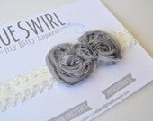 Shabby Chic Bow Headband - Grey/Gray on White Lace Band