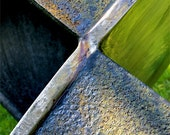 RUSTED XMEN - Abstract modern steel sculpture detail 11x14 fine art photography print (greenish)