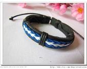 Adjustable  Real Leather and Multicolour Cotton Rope Woven Bracelets Leather Bracelet  mens Bracelet  512S