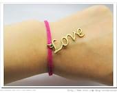 Vintage bronze love and pink ropes  Adjustable Bracelet 529s