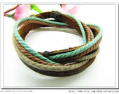 10%OFF Discount Real Leather and Multicolour Cotton Rope Woven Bracelets Adjustable Multicolour Bracelet/Ropes bracelet 603S