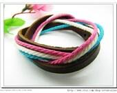 10%OFF Discount Real Leather and Multicolour Cotton Rope Woven Bracelets Adjustable Multicolour Bracelet/Ropes bracelet 656S