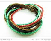 10%OFF Discount Real Leather and Multicolour Cotton Rope Woven Bracelets Adjustable Multicolour Bracelet/Ropes bracelet 657S