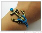 Adjustable Vintage Hunger Games Bacelet  Bule Anchor  Bracelet  With Blue Ropes Cuff  Bracelet  Vintage bracelet  Jewelry Bangle 553S