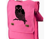 Canvas Messenger Bag - Owl Bag -Carry On Pink Laptop Travel Messenger Bag