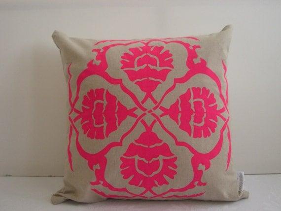Cushion cover Floral A design. Fluro pink design on sand beige Linen/Cotton 50cm x 50cm