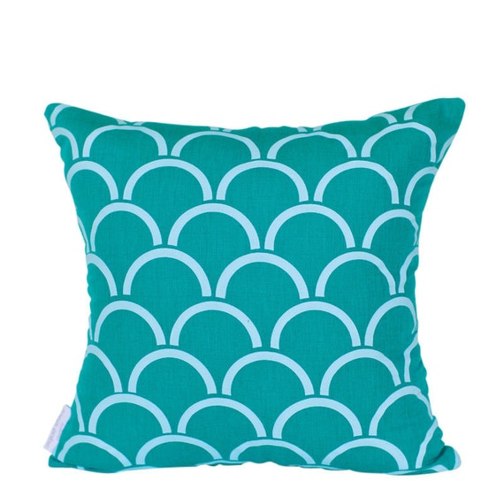 Cushion cover Arches design. Aqua design on jade green Linen/Cotton 42cm x 42cm