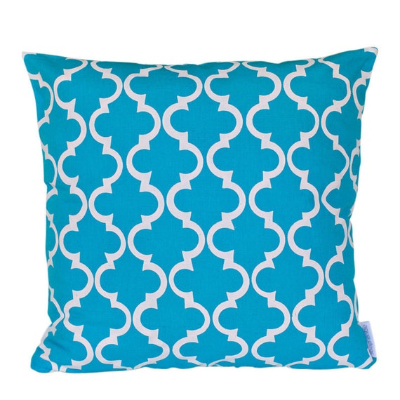 SALE: Cushion cover Geometric design. White design on aqua Linen/Cotton 50cm x 50cm