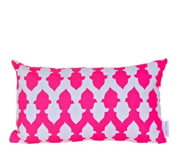 Cushion cover Iron symmetry. Fluro pink design on white Linen/Cotton 50cm x 30cm
