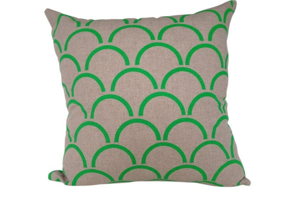 Cushion cover Arches design. Fluro green design on beige sand Linen/Cotton 42cm x 42cm