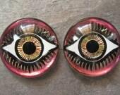 18mm Iridis Iridescent Eye Cabochons Preciosa Czech Glass New (2)