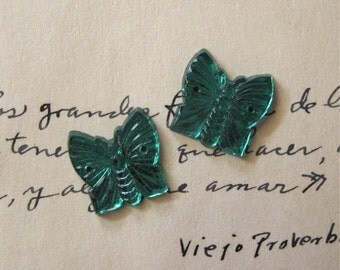 Vintage Glass Teal Green Butterfly Sew-ons Flatback Foiled Czech (2)