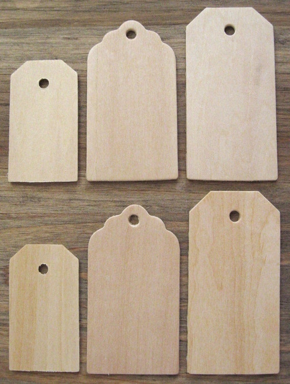 Unfinished Wood Tag Assortment (6) Birch Plywood Tags with Holes