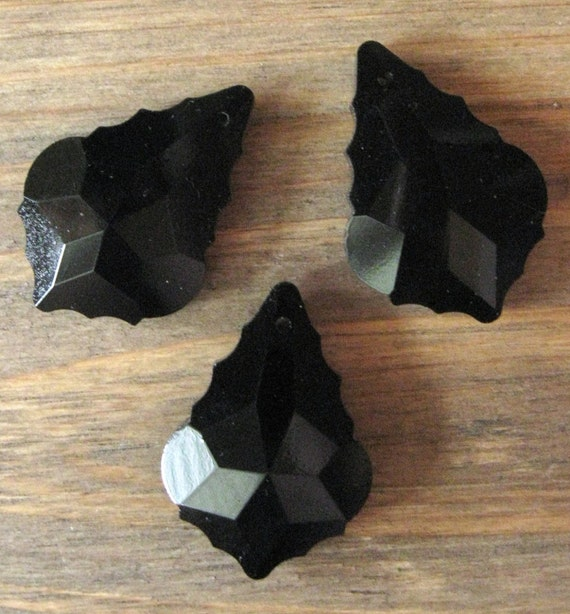 "3 New Black Glass Fancy Chandelier Prisms Pendants Drops 1-1/2"" Made in China"