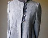 Vintage Gray Wool Velour Coat M/L
