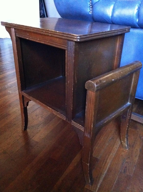 Vintage wood magazine side table antique end table by uniquestash