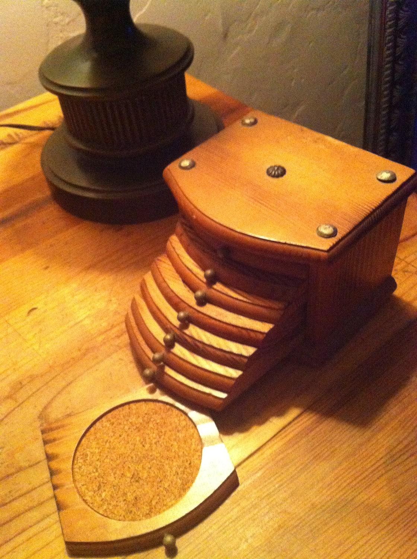 vintage teak drink coasters in wooden chest 8 wood by