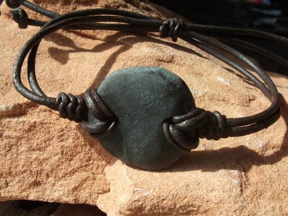 Unisex Surfers Scottish Stone Pebble Bracelet Seaglass