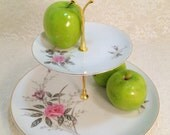 2 Tier Cake Stand Tidbit Tray Golden Rose - BunnysBakedGoods