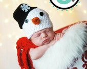 Crochet Snowman Hat & Scarf Set - Newborn/Infant/Baby - Photography Prop - Boy/Girl