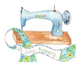 "Retro Vintage Style Art Print  ""Oh Sew Happy"" Sewing Machine green yellow blue Poster 8"" x 10"""