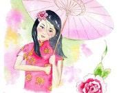 China Doll Illustration Print 8x10 inch Wall Art