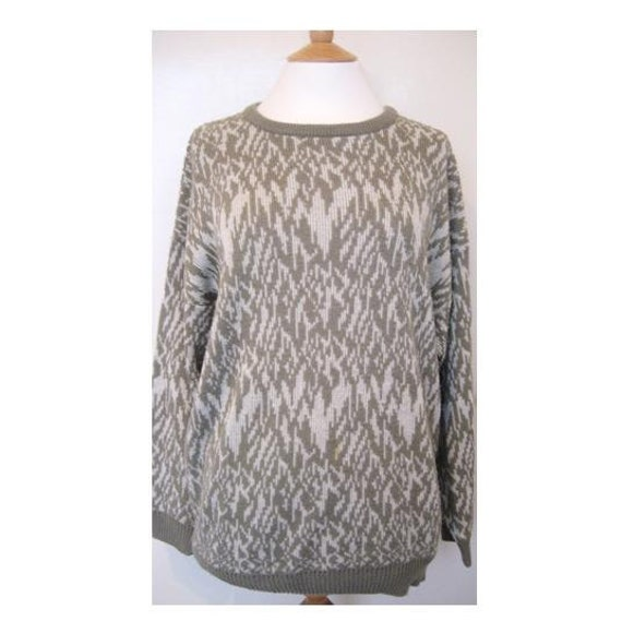 Reserved for Rose Robbins - Vintage 1980s St. Michael Beige and White Cosby Sweater Size Large