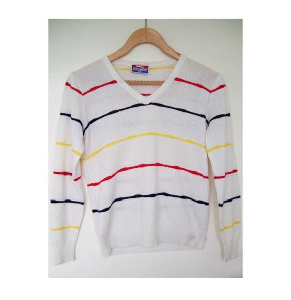 Vintage Early 1980s Slazenger Cream Tennis Sweater with Stripe Detail Size Small