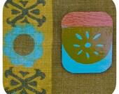 Screen Printed Upcycled Flooring Brooch