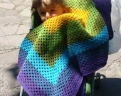 Rainbow Crocheted Baby Blanket Granny Square Multicolor designed by Columbinecrochet on Etsy