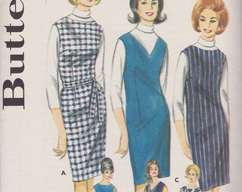 1960s Slim Fitting Shift Dress Vintage Pattern, Butterick 3114, Proportioned for Height, Beatnik, Beatles Fan, Boat or V Neck Jumper,