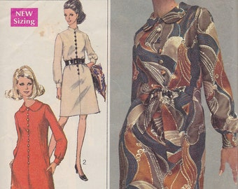 1968 Simplicity Designer Mod Dress Vintage Pattern,Simplicity 7803, Band or Peter Pan Collar, Front Loop and Button Closing, London Look