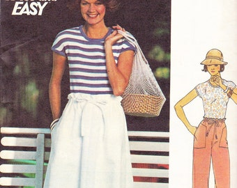 1970s Knit Top, Paper Bag Waist Skirt and Wide Leg Pants Vintage Pattern, Butterick 4767, Fast and Easy