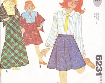 1978 Girls Mini or Maxi Bias Skirt, Tailored Blouse and Shawl Vintage Sewing Pattern, McCalls 6231,