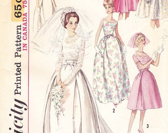 1963 Wedding Gown Vintage Pattern, Simplicity 5343, Mad Men, Jackie Kennedy, Formal, Detachable Train, Short Bridesmaid Dress with Jacket