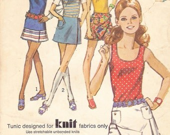 1971 Sporty Tank Top, Micro Mini Scooter Skirt, Skort, Shorts Vintage Pattern, Simplicity 9332, Sleeveless Top, Tunic, Scoop Neck