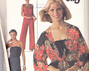 1970s Disco Dancing Strapless Jumpsuit (Optional Shoulder Ties) and Wrap Jacket Vintage Pattern, Simplicity 7748