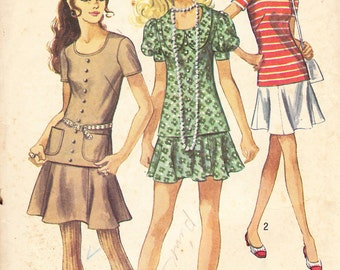 1970 Two Piece Dress Vintage Pattern, Simplicity 8780, Mini Skirt and Long Top, Short Set In or Puffed Sleeves