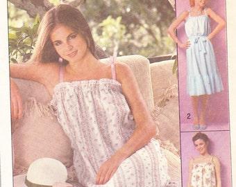 1977 Sundress Vintage Pattern,Simplicity 8512,  Loose-Fitting, Self Tie Belt, Ruffled Hem, Lace Trim, Tied Shoulder Straps, Prairie Style