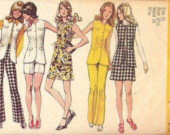 1972 Long Tunic Vest, Shorts and Bell Bottom Pants Vintage Pattern, Simplicity 9873, Sleeveless with Flap Trim Coordinating Separates